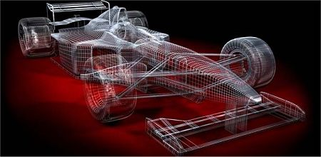 Engineering drawing of F1 car